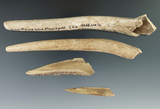 Set of four bone tools, largest is 7