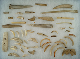 Approximately 50 assorted bone tools, awls, animal teeth recovered near Munnsville Valley, NY.