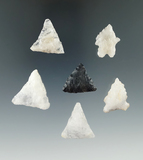 Group of six assorted New England and Virginia arrowheads, most are quartz. Largest is 1 1/8