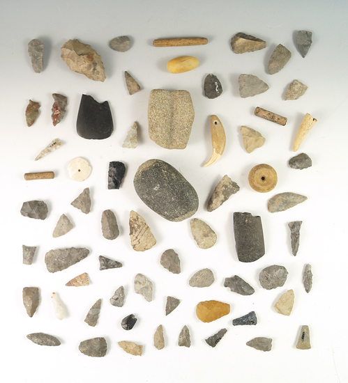 Group of assorted artifacts found at the Reeves site in Lake Co.,  Ohio by Greg LaForme.