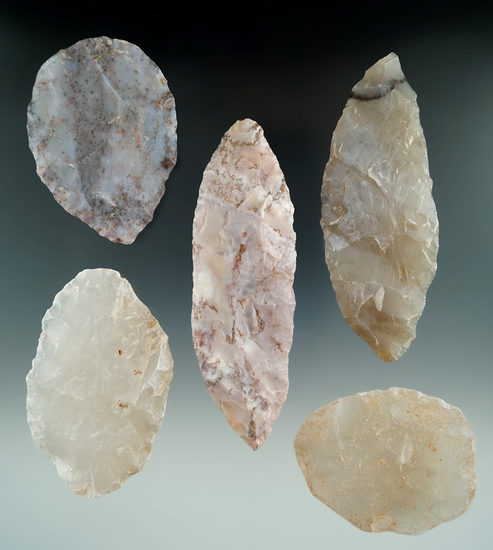"""Set of five beautiful Blades found in Utah, largest is 4 3/4""""."""