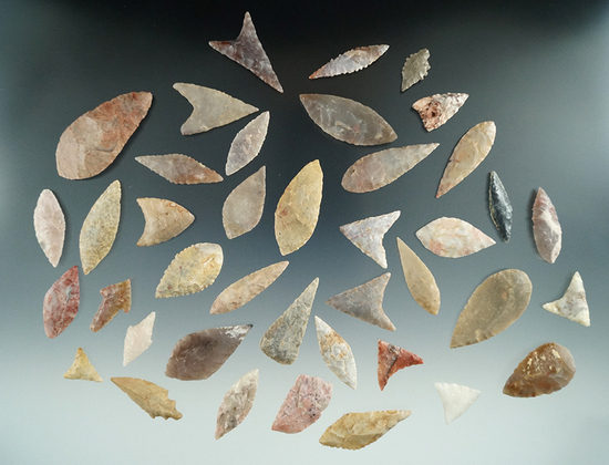 Group of 40 leaf and triangle points found in the northern Sahara desert region of Africa.