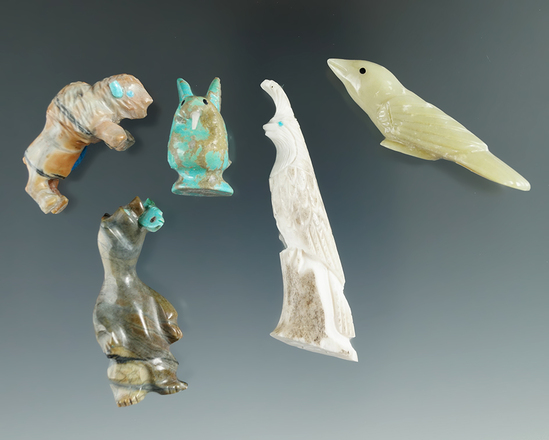 """Set of five contemporary Zuni fetishes there very nicely made. Largest is 2 7/16""""."""