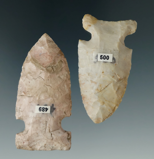 """Pair of nicely made Archaic Sidenotch points found in Ohio, largest is 2 1/4""""."""
