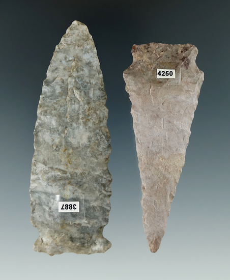 """Pair of Flint Knives found in Ohio, largest is 3 11/16""""."""