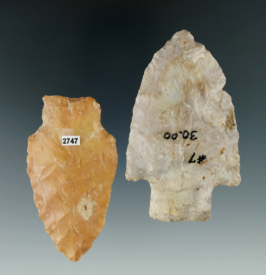 """Pair of Stemmed Knives found in Ohio and Illinois, largest is 3""""."""