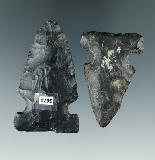 """Pair of Coshocton Flint Archaic Sidenotch points found in Ohio. Largest is 2 7/16""""."""