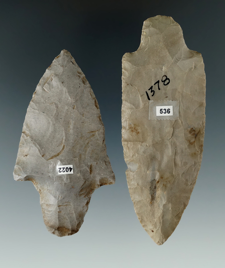 """Pair of Adena Knives found in Ohio, largest is 3 7/8""""."""