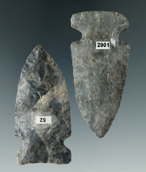 """Pair of well styled Coshocton Flint Archaic Sidenotch points found in Ohio. Largest is 2 1/2""""."""