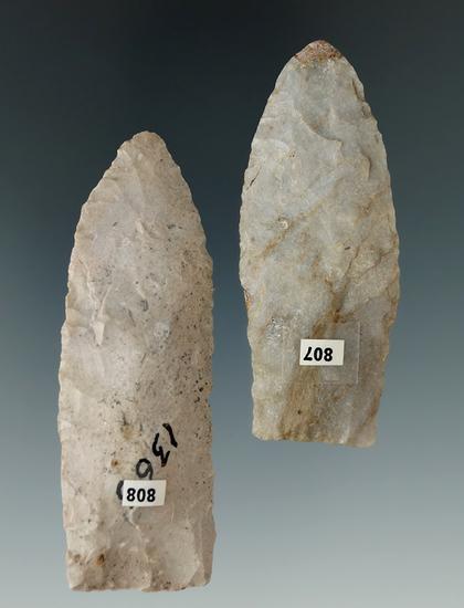 "Pair of Ohio Paleo Lanceolate's. 1 restored. Largest is 2 13/16""."