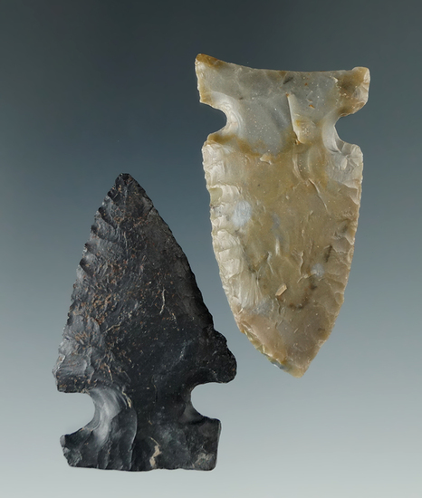 """Pair of Coshocton Flint Archaic Sidenotch points found in Ohio, largest is 2""""."""