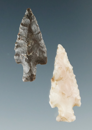 "Pair of Columbia River arrowheads in nice condition, largest is 1""."