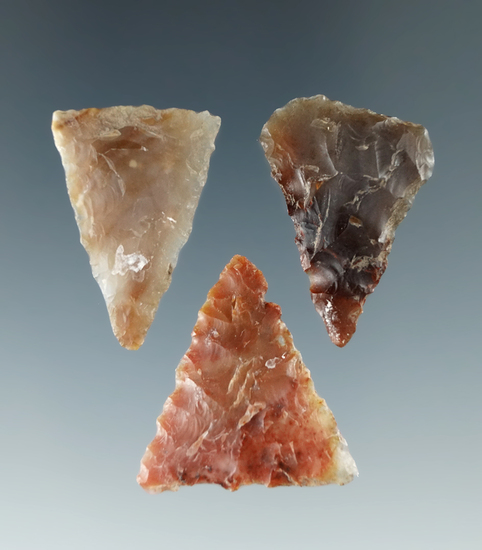 Set of three triangular arrowheads made from nice materials found near the Columbia River.