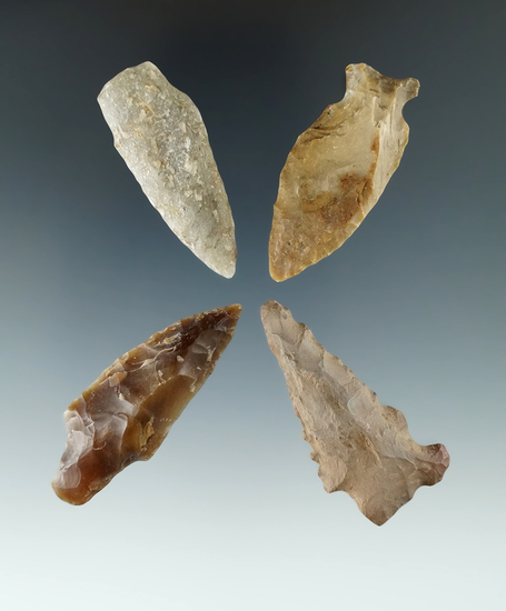 "Set of four Columbia River arrowheads, largest is 1 7/8""."