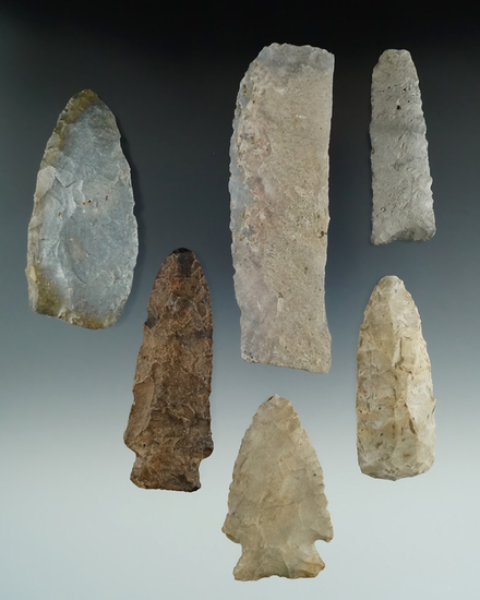 "Set of six High Plains artifacts including a 4 3/16"" sheet chalcedony Knife."