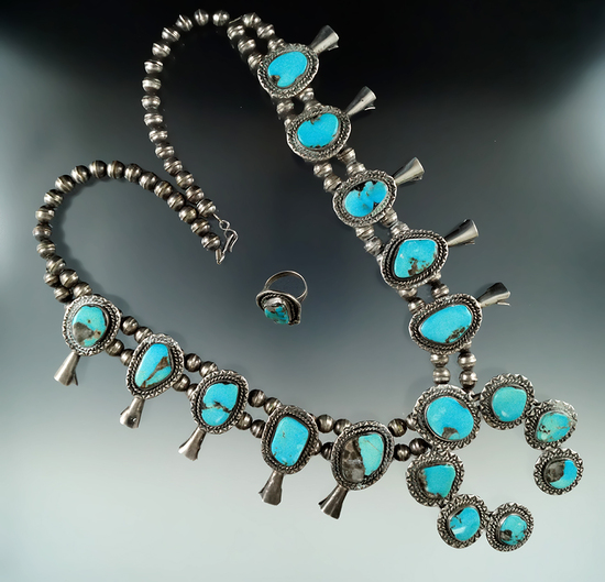 Attractive vintage Southwest squash blossom necklace.