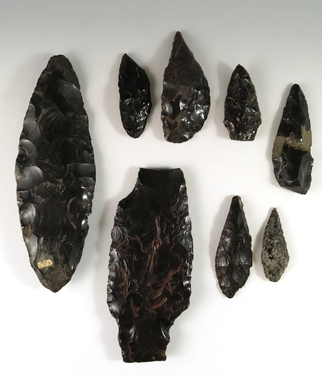 "Set of 8 obsidian Toltec artifacts from Mexico including a large 8"" Blade."