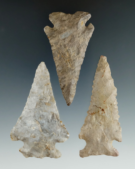 """Set of three Pinetree styled knives found in Ohio and Illinois. Largest is 2 1/2""""."""