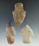 set of three Adena and Hopewell points. Largest is 2 3/8