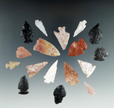 Set of 17 assorted points found in Utah, largest is 1 7/16