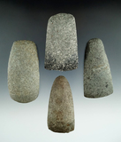 Group of four Celts and adzes, all in good condition, found in Michigan. Largest is 3