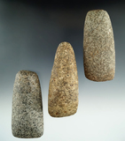Set of three stone tools including two Celts and an Adze found in Michigan. Largest is 3 9/16