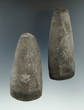 Pair of stone Celts found in New Jersey, one has a ding in the bit. Largest is 4
