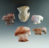 Set of five colorful Flint Ridge, Nethers and Pipe Creek Flint scrapers found in Ashland Co., Ohio.
