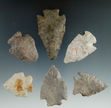 Group of six Pentagonal points found in Ohio, largest is 2 1/4