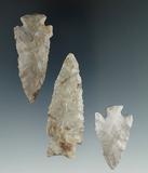 Set of three Ohio arrowheads, largest is 2 1/2