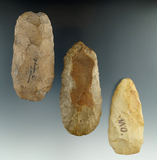 Set of three Flint Celts found in Illinois and Missouri, largest is 4
