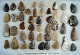 Large group of scrapers made from high quality material including Knife River Flint, High Plains reg