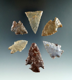 Six very colorful Pipe Creek Flint points found in Ashland and Crawford counties Ohio.