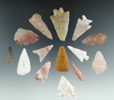 Set of 14 points made from attractive materials found in Utah, largest is 1 1/2
