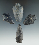 Set of four Heavy Duty points made from Coshocton Flint found in Ohio, largest is 2 3/8