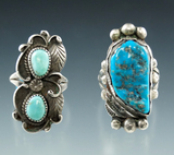 Pair of large turquoise and silver vintage Southwestern rings.