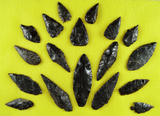 Group of 18 assorted Toltec  points, knives and tools made from obsidian found in Mexico.