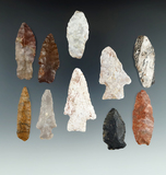 Set of 10 assorted points found in Utah, largest is 2 3/8