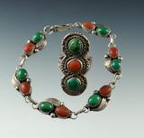 Attractive vintage silver ring and bracelet set. Southwestern.