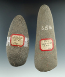 Pair of Celts found at Delaware Water Gap, Pennsylvania. Largest is 5 3/4
