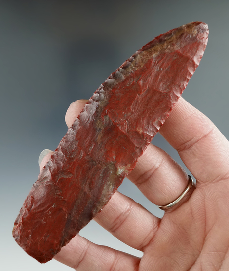 "4 5/8"" Knife made from brilliant Red Jasper. Found near Crump Lake, Lake Co., Oregon"