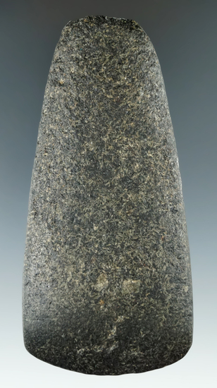 """4 1/8"""" Hardstone Celt that is nicely polished, found in Ohio. Ex. Jim Hovan, H973."""