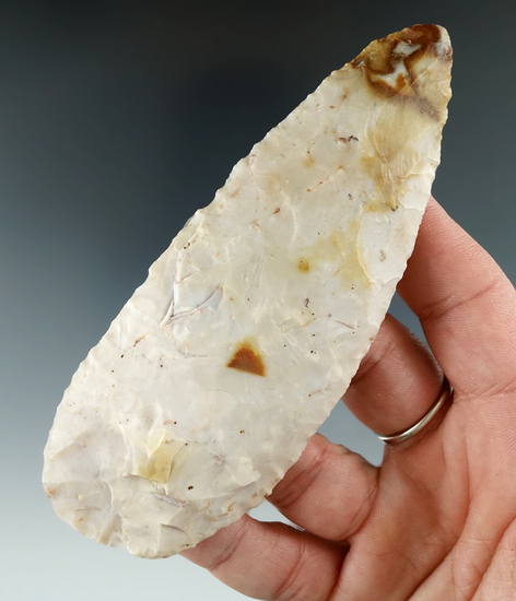 "4 1/2"" Flint Ridge Flint Blade found in Fairfield Co., Ohio. Ex. Glenn Spray."