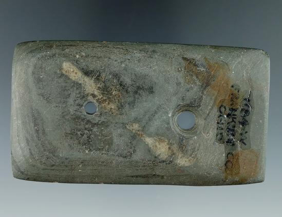 "3 1/2"" Semi-Keel Gorget found in Franklin Co., Ohio. Ex. Wehrle, #1184,  J. Shotts. Pictured."