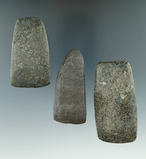 """Set of three well polished nicely styled Hardstone Celts found Michigan, largest is 2 3/4""""."""