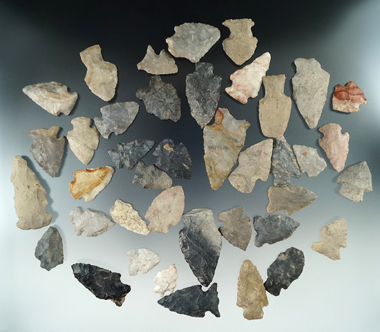 """Group of 40 assorted field found Ohio arrowheads, largest is 2 5/16""""."""