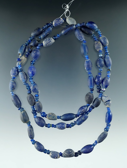 """32"""" Strand of attractive blue Beads all found in Macon Co., Alabama from the doctor Burke."""