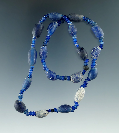 """15"""" Strand of attractive blue Beads all found in Macon Co., Alabama from the doctor Burke."""