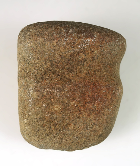 """Well defined 3"""" long 3/4 Grooved Hammerstone found in Ohio."""