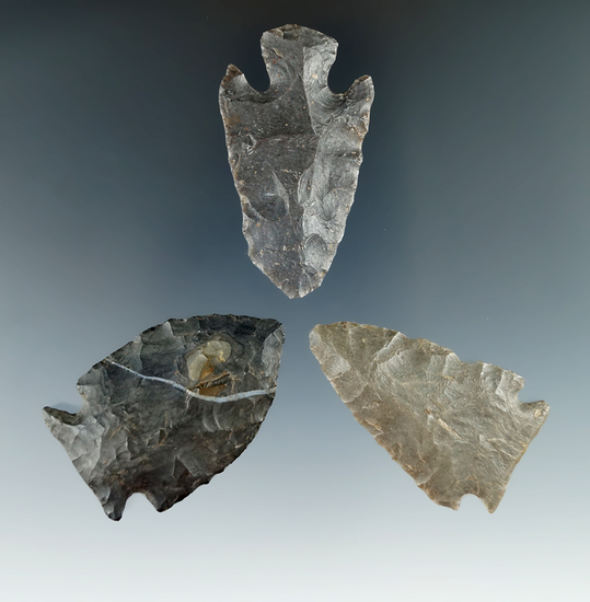 """Set of three Coshocton Flint points found in Ohio, largest is 2""""."""